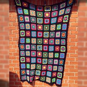 Vintage Granny Square Crochet Afghan Blanket 64x41